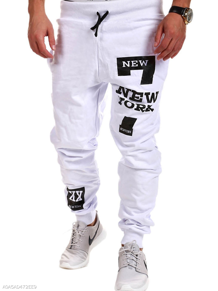 Elastic Waist  Letters Printed  Slim-Leg Men's Casual Pants