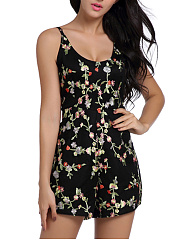 Spaghetti Strap Floral Hollow Out Romper