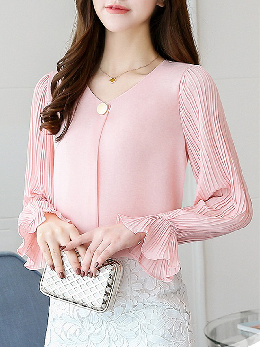 V-Neck Plain Blouse With Pleated Sleeve