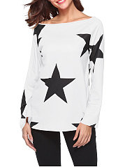 Autumn Spring  Polyester  Women  Asymmetric Neck  Printed Star Long Sleeve T-Shirts