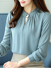 Band Collar  Plain Blouse
