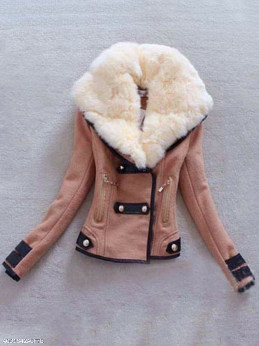 Faux Fur Collar Pocket Jacket