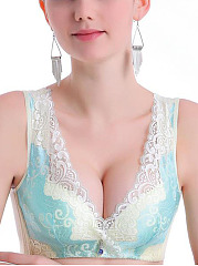 Sexy Lace-Trim Busty Full Coverage Wireless Gather Bando Bras
