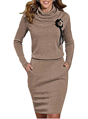 Cowl Neck  Slit Pocket  Plain  Blend Bodycon Dresses