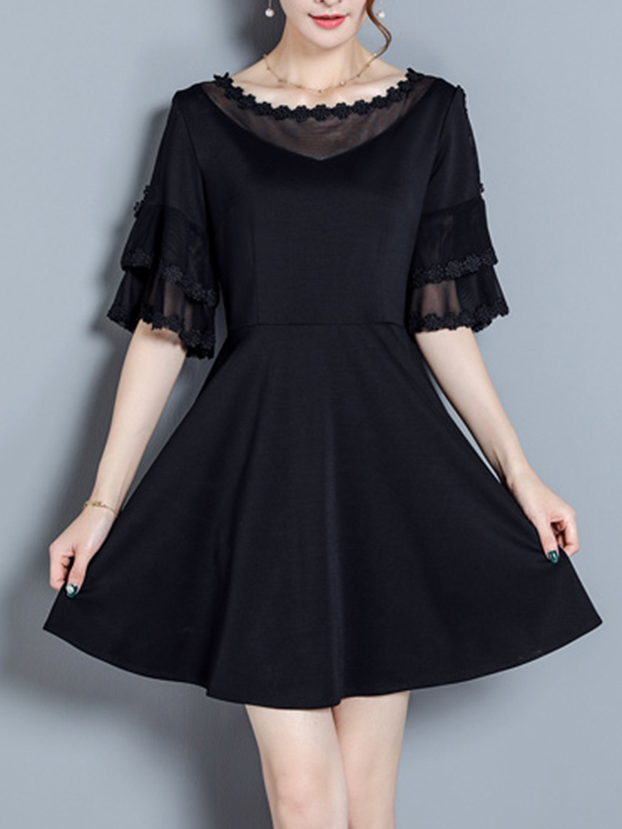 Bell Sleeve Hollow Out Plain Chiffon Skater Dress