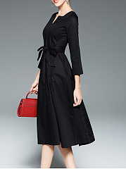 Split Neck  Belt Decorative Button  Plain Skater Dress