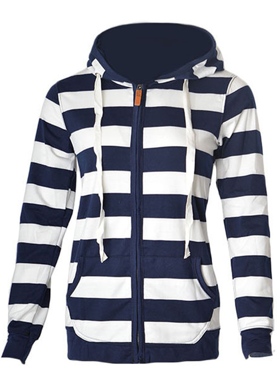 Striped Patch Pocket Zips Hoodie