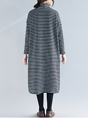 Band Collar  Patch Pocket  Striped Maxi Dress