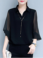 Turn Down Collar  See-Through  Plain  Puff Sleeve  Three-Quarter Sleeve Blouse