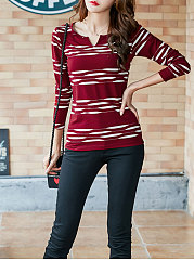Split Neck Printed Long Sleeve T-Shirt