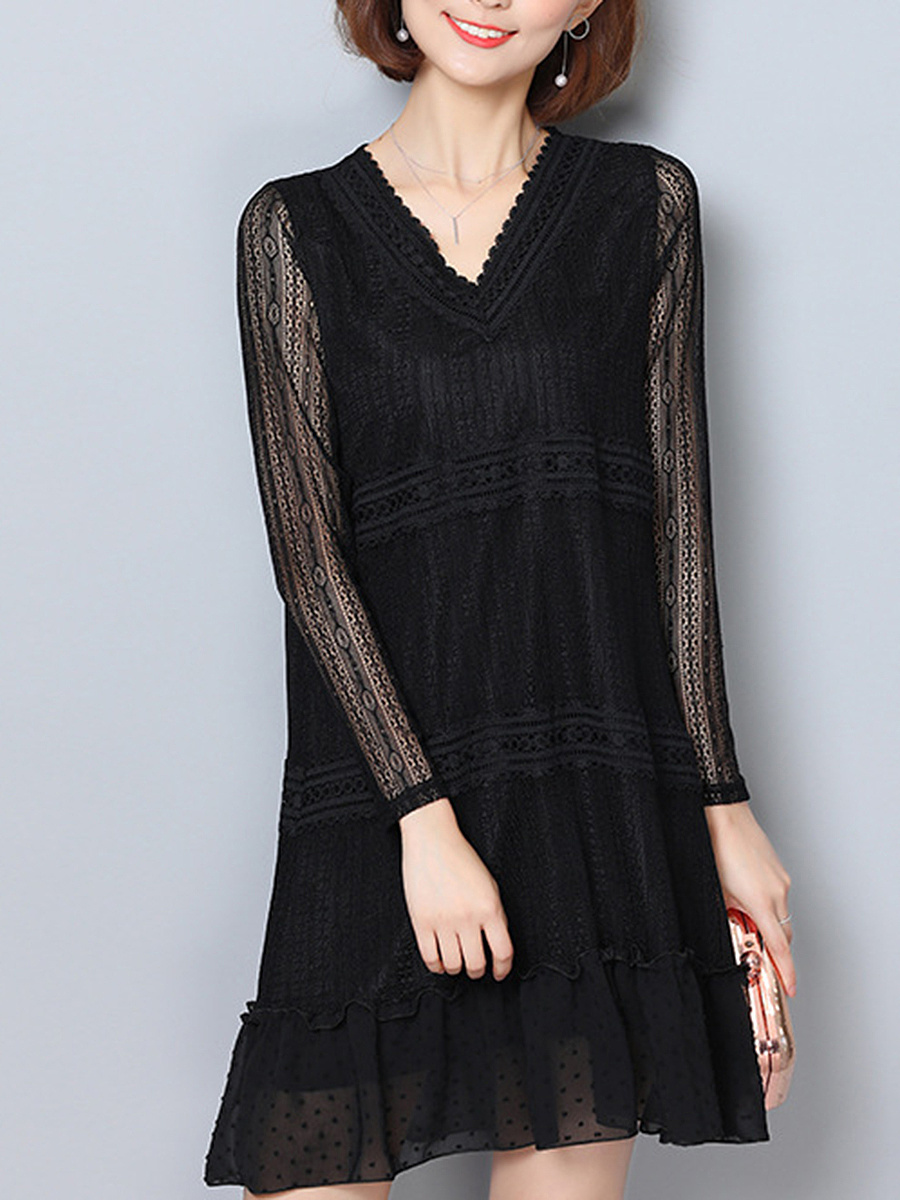 V-Neck  See-Through  Plain  Lace Shift Dress