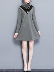 Band Collar  Decorative Lace  Color Block Shift Dress