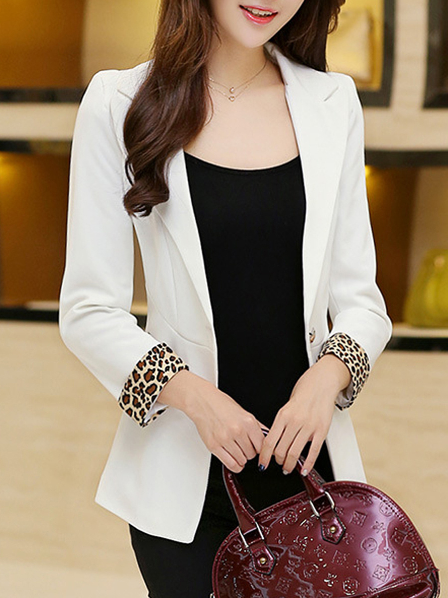Notch Lapel Single Button Contrast Leopard Trim Blazer