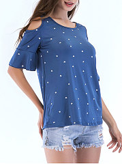 Summer  Blend Polyester  Women  Open Shoulder  Polka Dot Short Sleeve T-Shirts