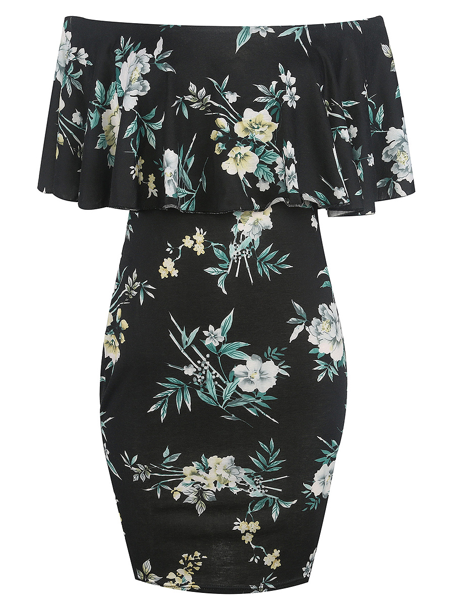 Off Shoulder Flounce Floral Printed Bodycon Dress
