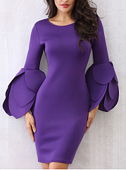 Designed Bell Sleeve Plain Round Neck Bodycon Dress