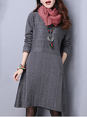 Round Neck  Brocade Plain Shift Dress