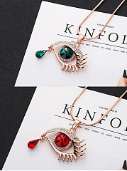 Eye Shape Tear Drop Long Pendant