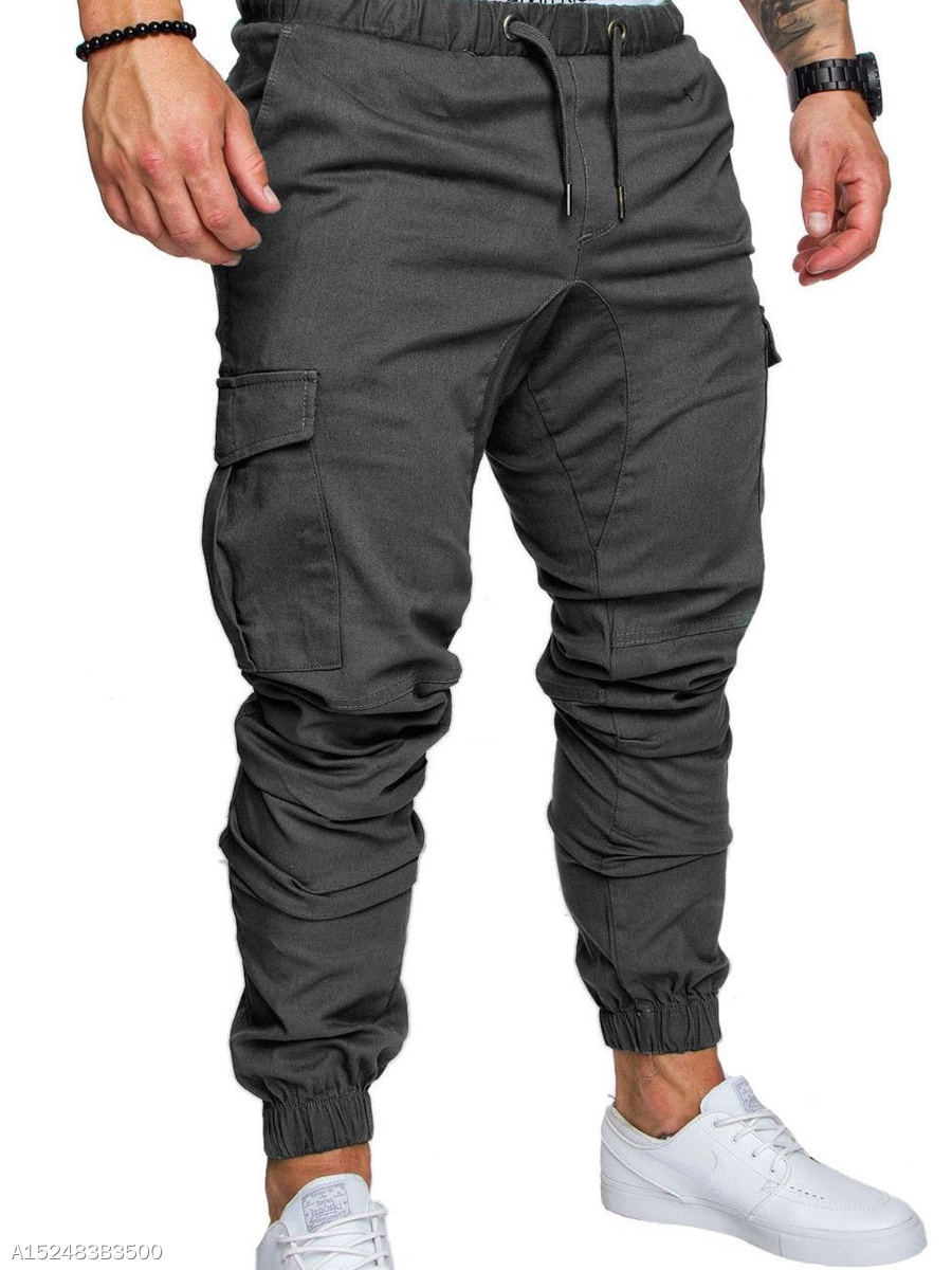 Elastic Waist Flap Pocket  Plain  Slim-Leg  Mid-Rise Men's Casual Pants