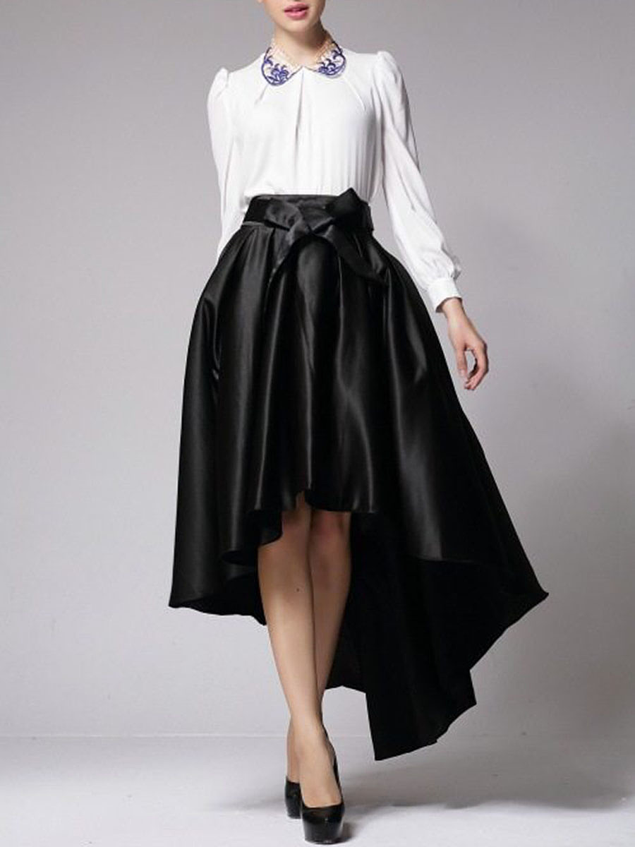 High-Low Plain Bowknot Flared Maxi Skirt