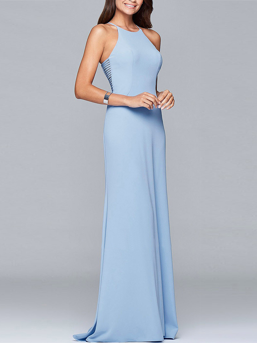 Spaghetti Strap Solid Hollow Out Maxi Dress