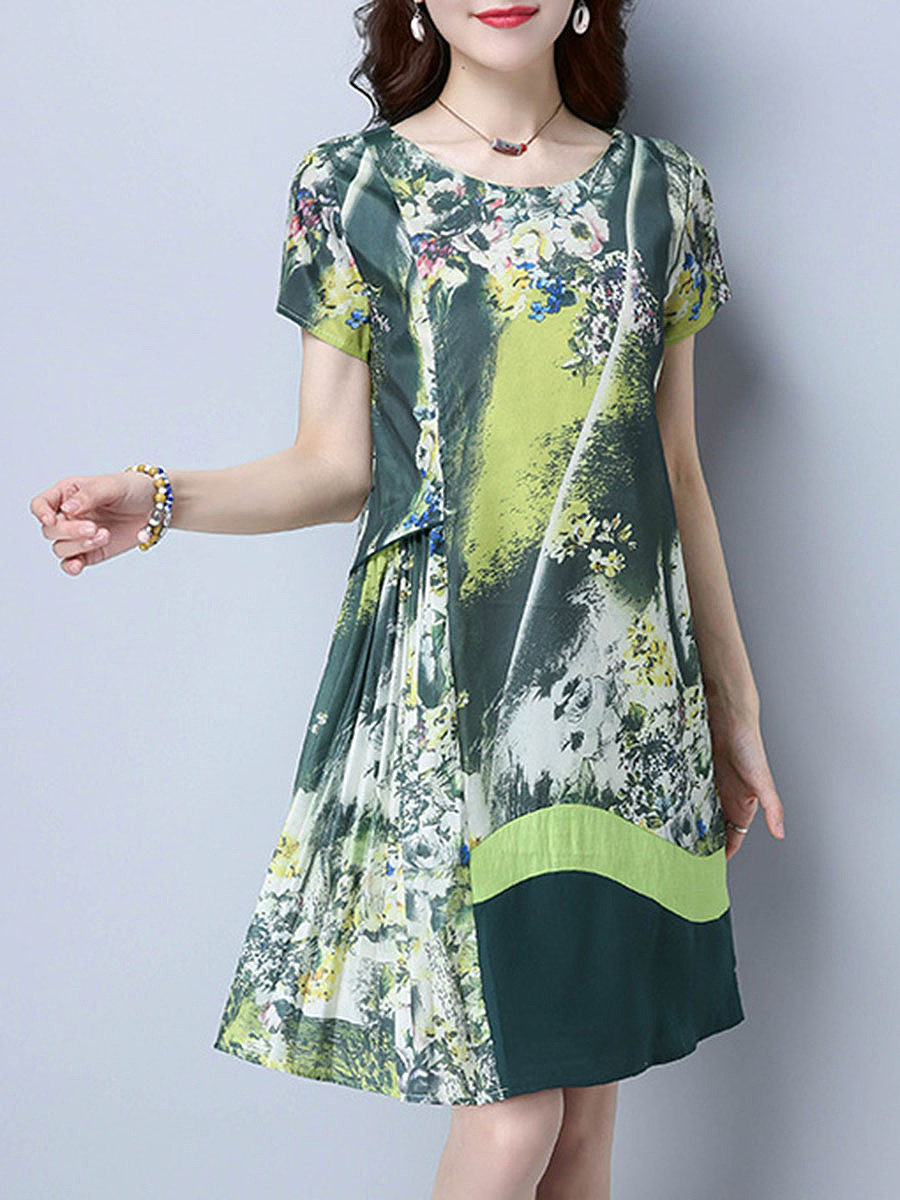 Round Neck Designed Printed Shift Dress
