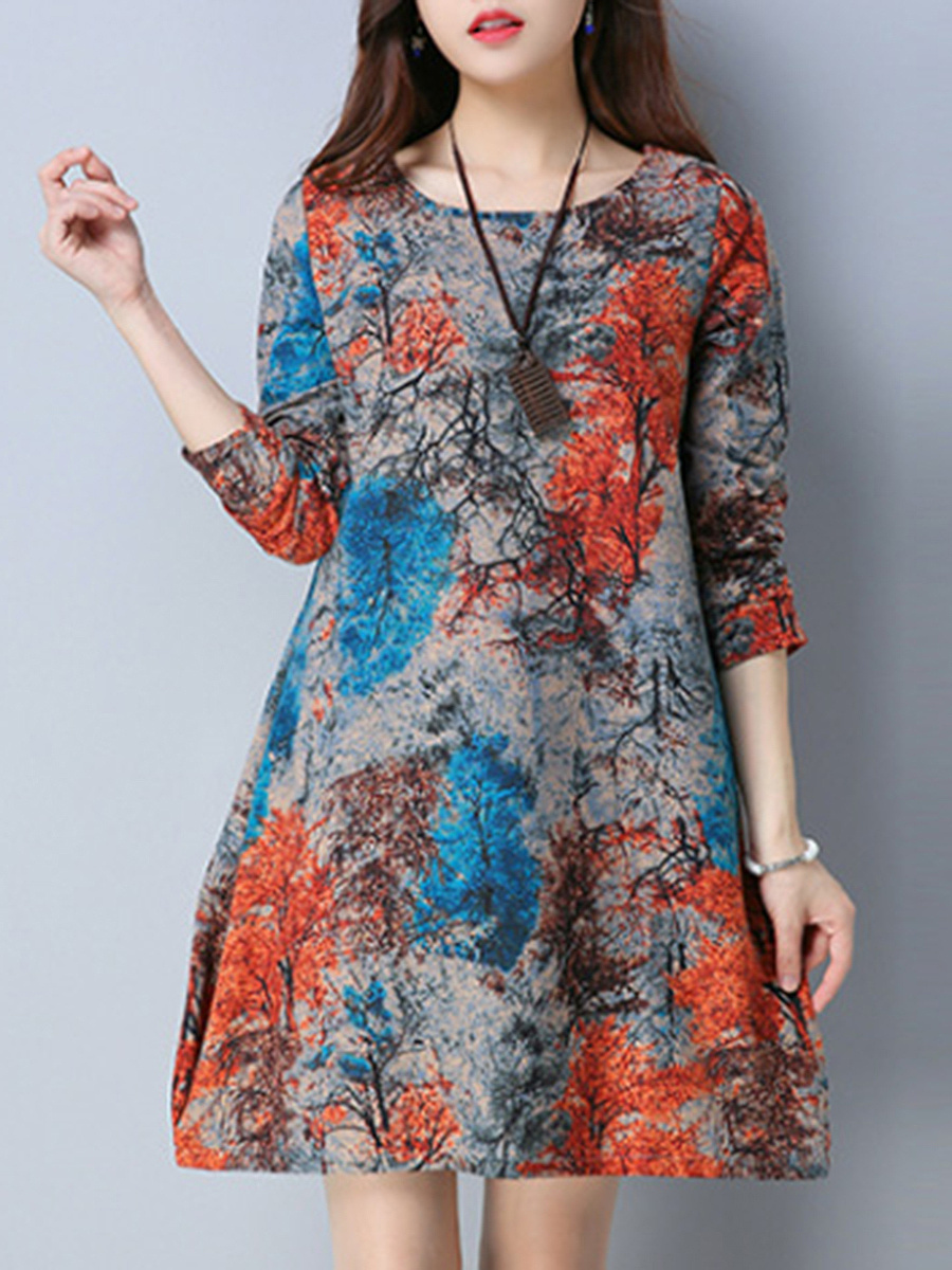 Colorful Round Neck Pocket Printed Shift Dress