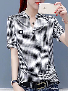 Summer  Cotton  Women  V-Neck  Plaid  Short Sleeve Blouses