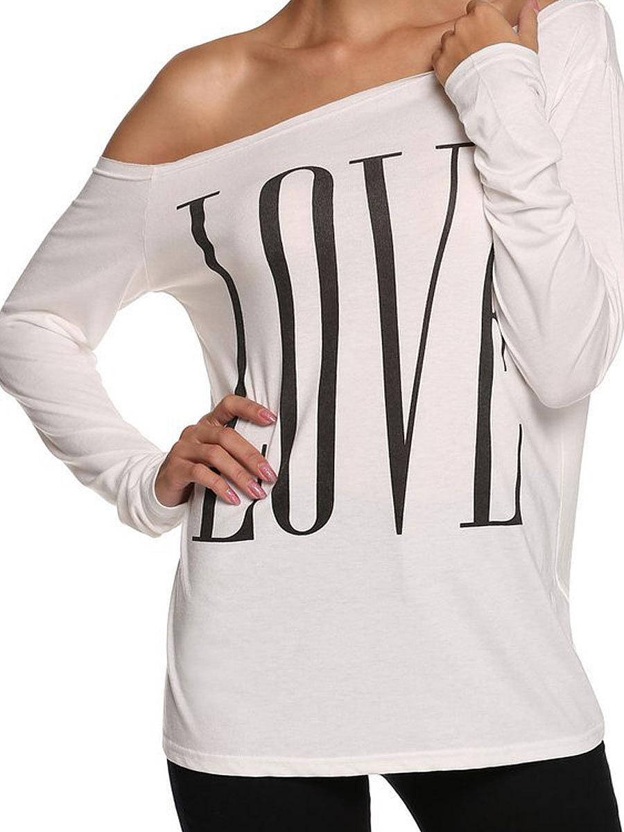 Autumn Spring  Polyester  Women  Boat Neck  Letters Long Sleeve T-Shirts