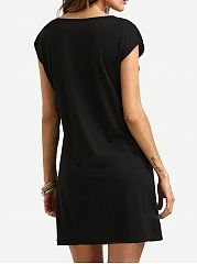 Round Neck  Decorative Hardware  Plain Shift Dress