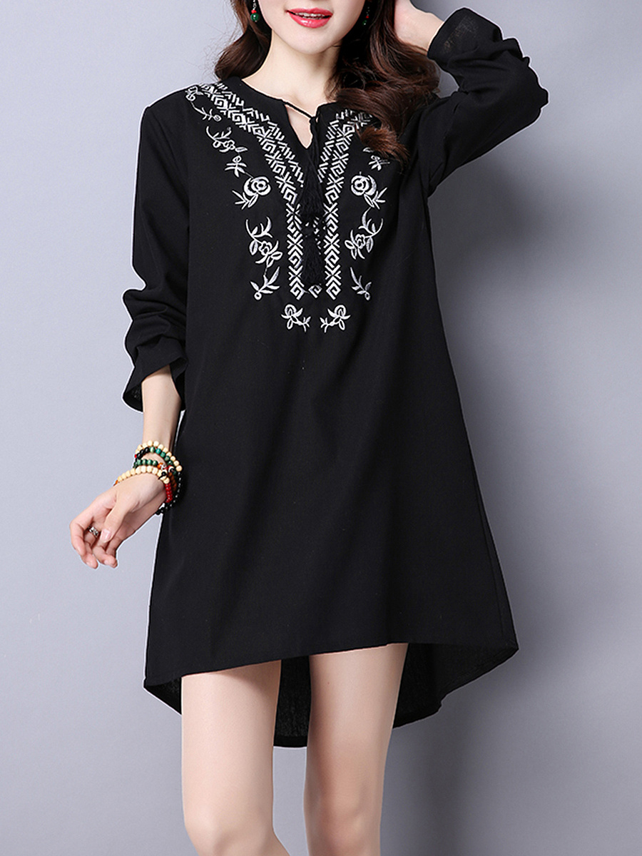 Tie Collar  Embroidery High-Low Shift Dress