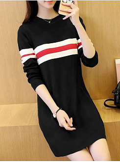 Midi Casual Round Neck  Color Block  Shift Dress