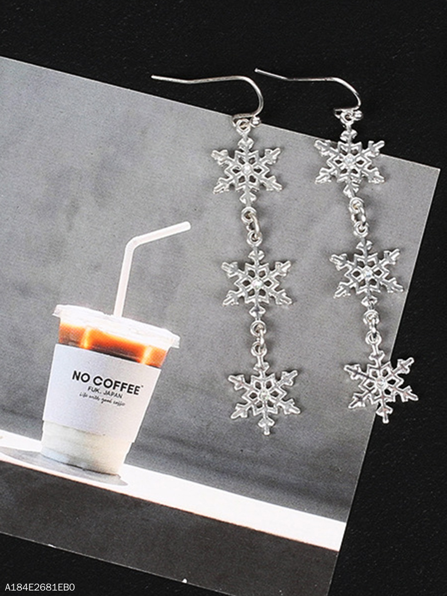 Snowflake-Shaped Drop Earrings