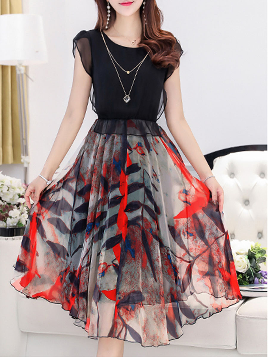 Round Neck Patchwork Printed Chiffon Midi Skater Dress