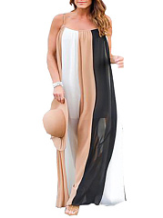 Spaghetti Strap  Striped Plus Size Midi & Maxi Dresses