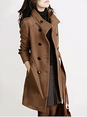 High Neck Belt Plain Double Breasted Woolen Coat