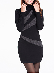 High Neck  Print Bodycon Dress