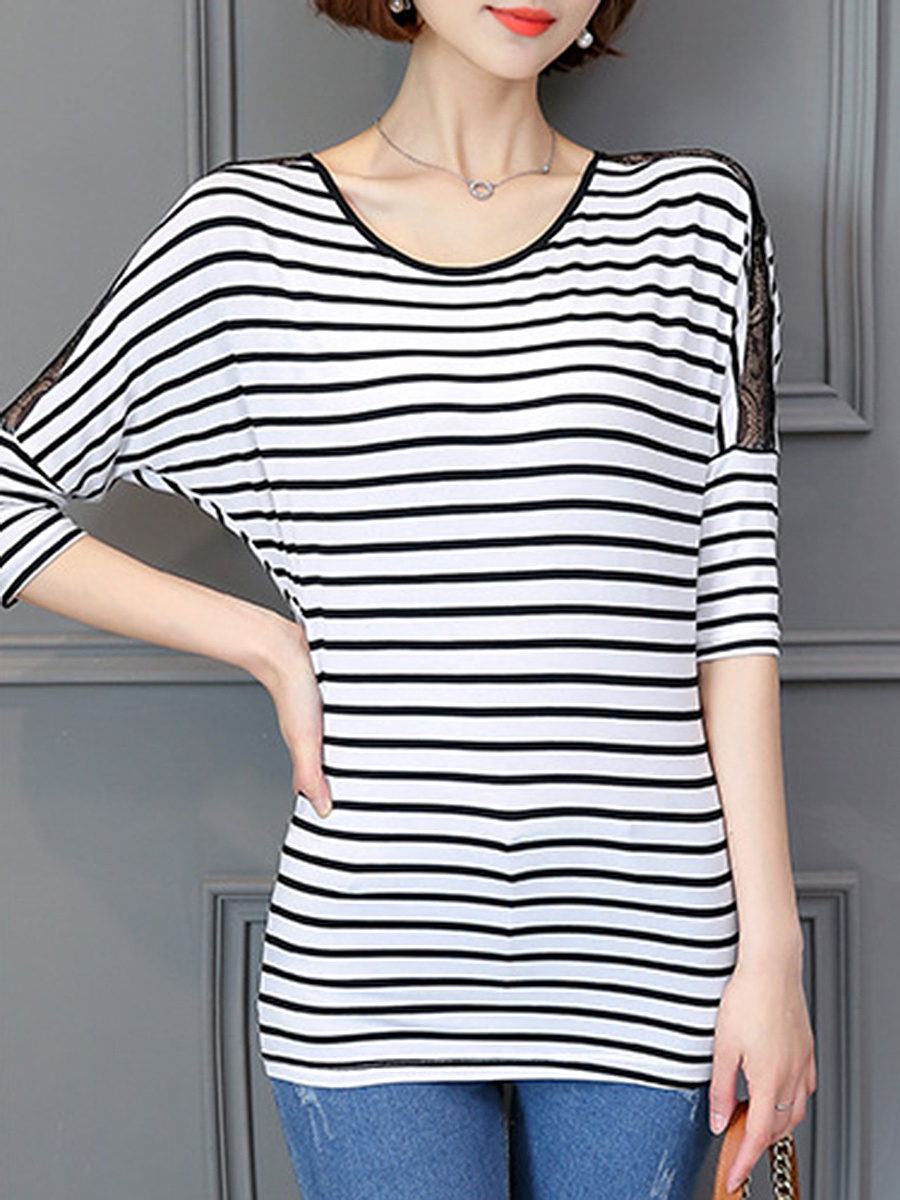 Striped Hollow Out Batwing Sleeve T-Shirt