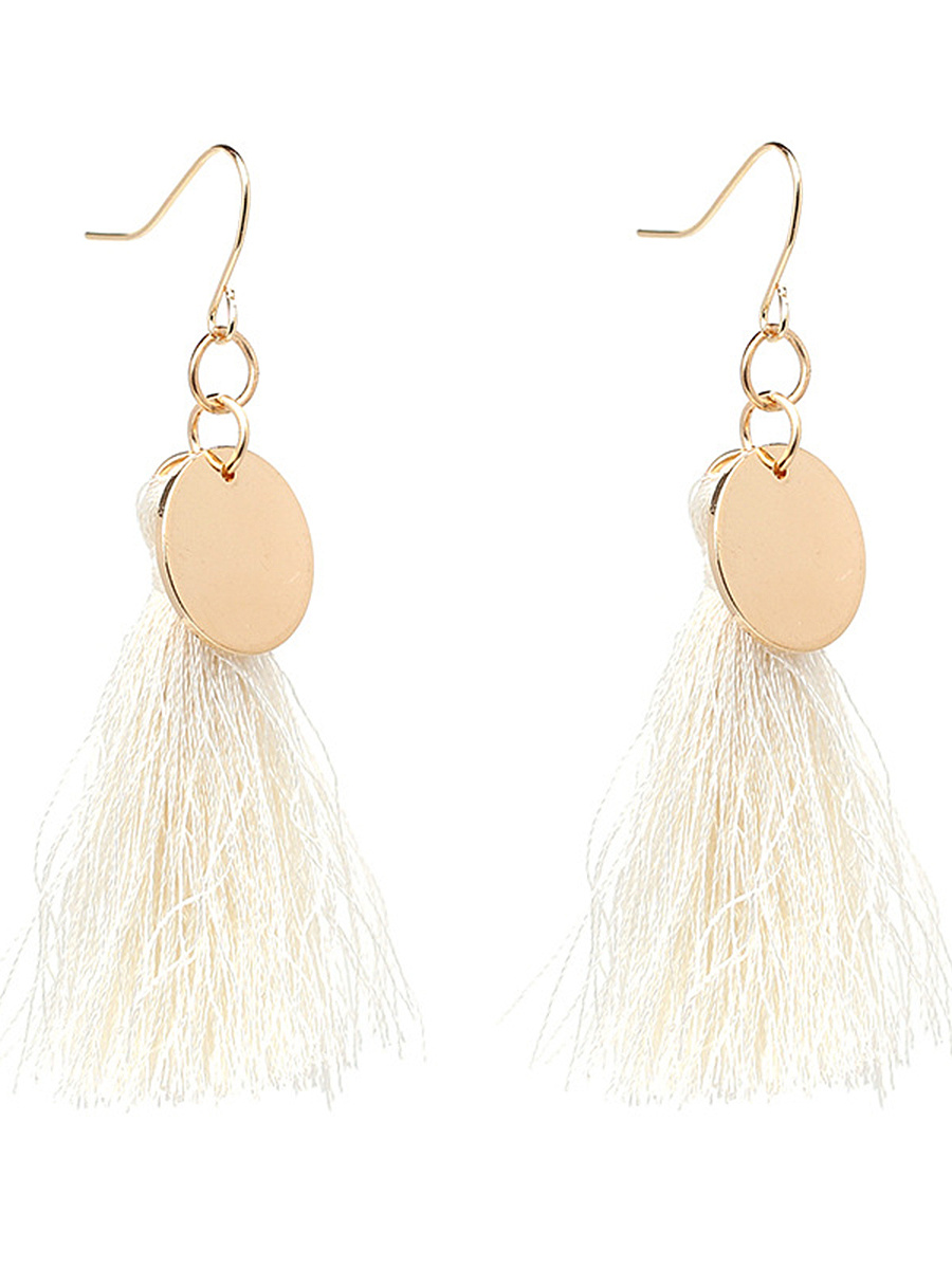 Statement Tassel Disc Drop Earrings