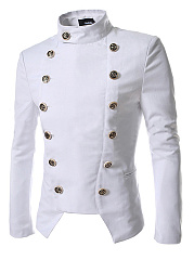 Band Collar Double Breasted Plain Men Coat