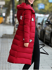 Hooded Decorative Patch Pocket Longline Padded Coat