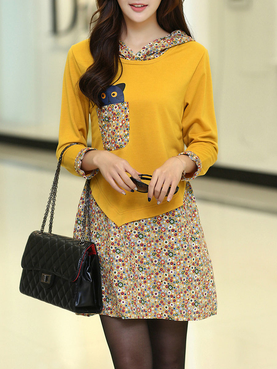 Lovely Hooded Tiny Flower Printed Shift Dress