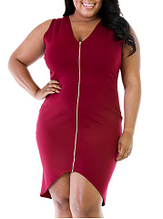 Deep V-Neck  Asymmetric Hem  Plain Plus Size Bodycon Dress