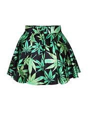 Elastic Waist Tropical Leaf Printed Flared Mini Skirt