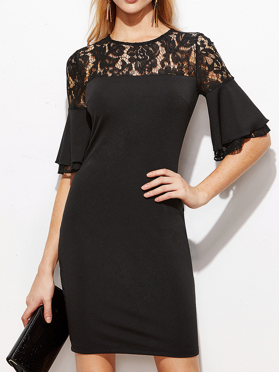 Plain Round Neck  Lace Decoration Bodycon Dress