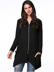 Hooded  Patch Pocket Zips  Plain Cardigan