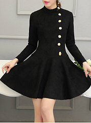 Crew Neck  Decorative Button  Plain Skater Dress