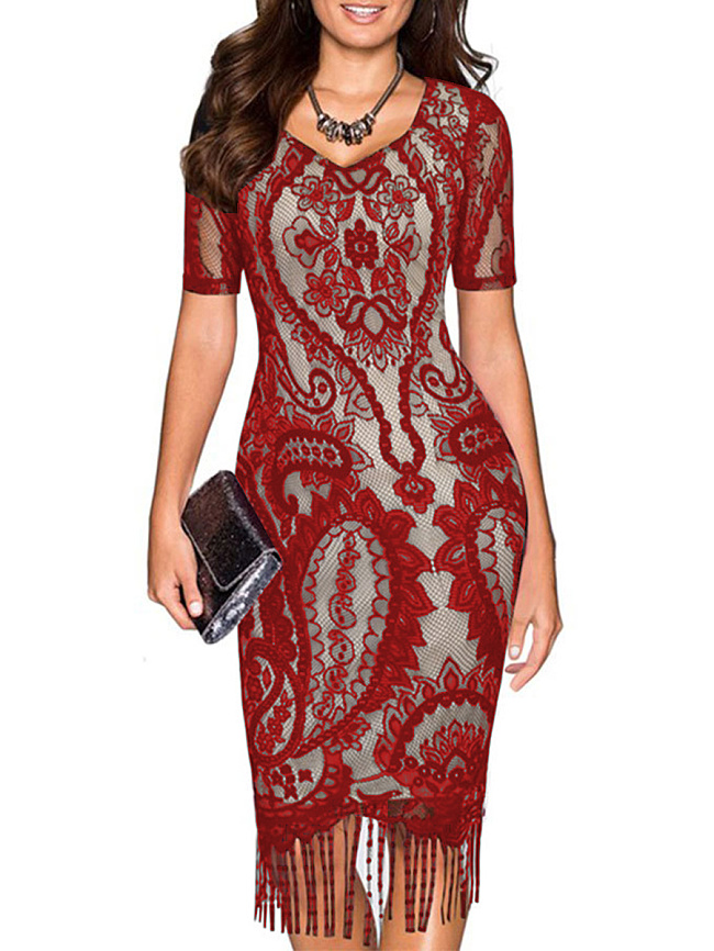 Image of Fashionmia V-Neck Tassel Lace Plain Bodycon Dress