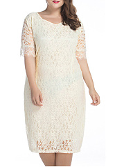 Classic Lace Hollow Out Round Neck Solid Plus Size Bodycon Dress