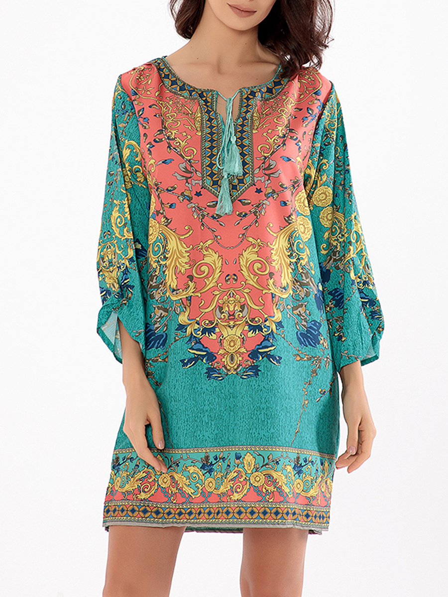 Tie Collar Tribal Printed Shift Dress